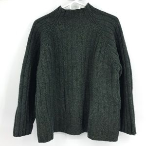 J.Crew Green Vintage Lambswool Mock Neck Sweater